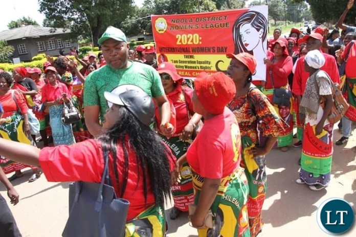 Lusaka Province Minister Bowman Lusambo interacts with UPND Women During the Internal Women's Day celebrations