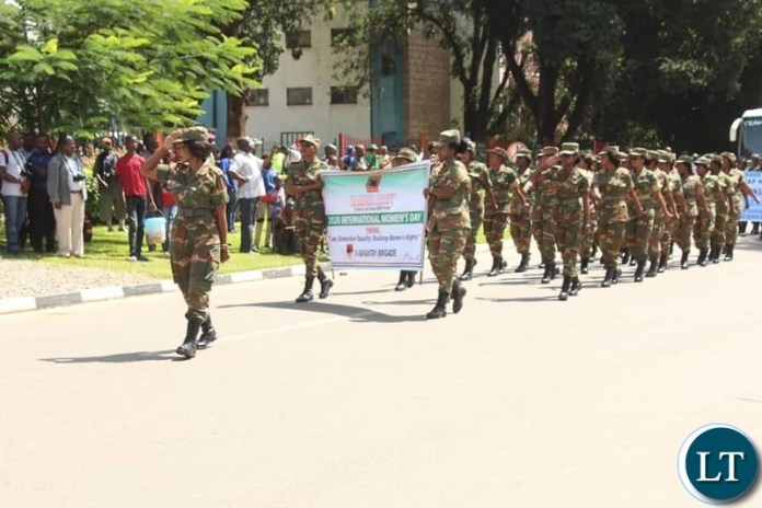 Zambia Army Women During the Celebration of International Women's Day