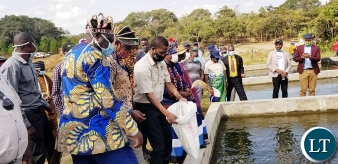 President Edgar Chagwa Lungu tours Aquaculture Field Day in Chief Kanyama's area in Mwinilunga District, North Western Province on Saturday, May 30, 2020.