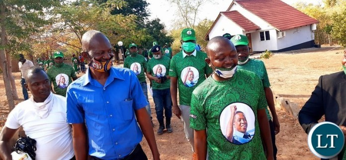 Patriotic Front Lusaka Province Youth Chairperson Danniel Kalembe arrive to donate COVID-19 Fight Materials