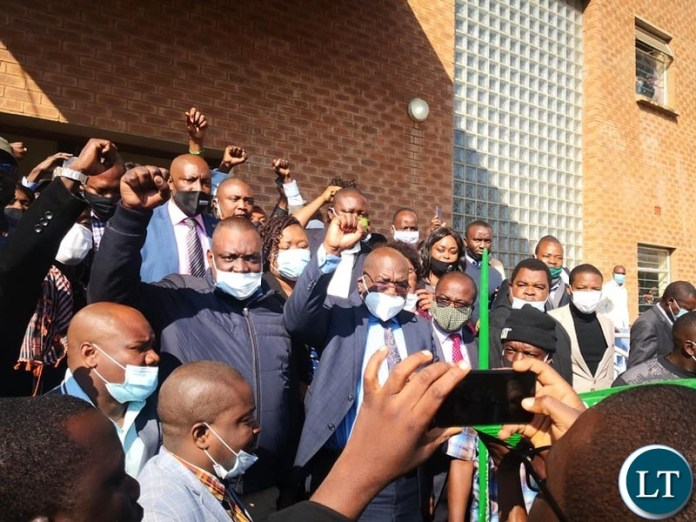 Health Minister Dr. Chitalu Chilufya at the Court with PF supporters from Luapula Province