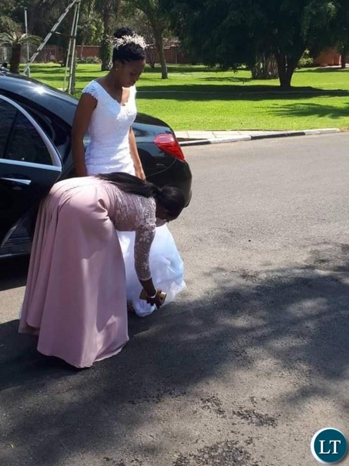 Tasila Lungu arrives for the Wedding Ceremony