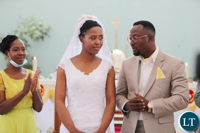 The New Couple Tasila and Patrick Mwansa during the Wedding ceremony