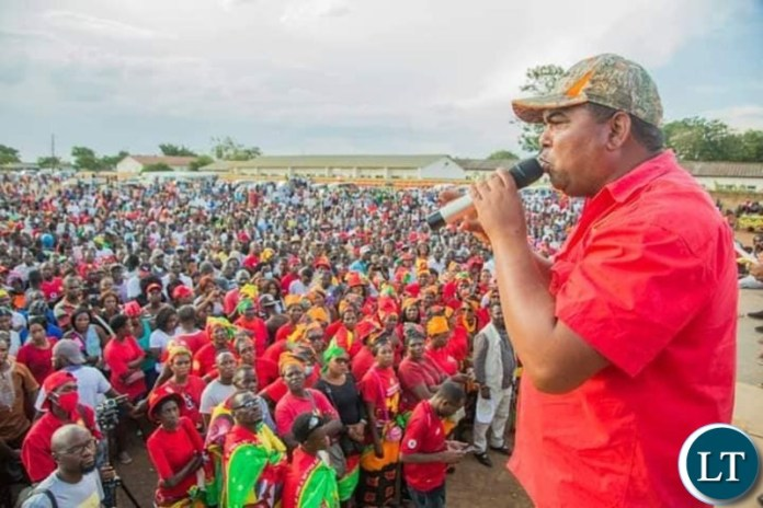 Mwaliteta addressing the Mobilisation rally in Lusaka