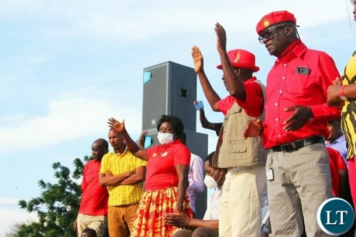UPND leadership at the mobilisation rally in Lusaka