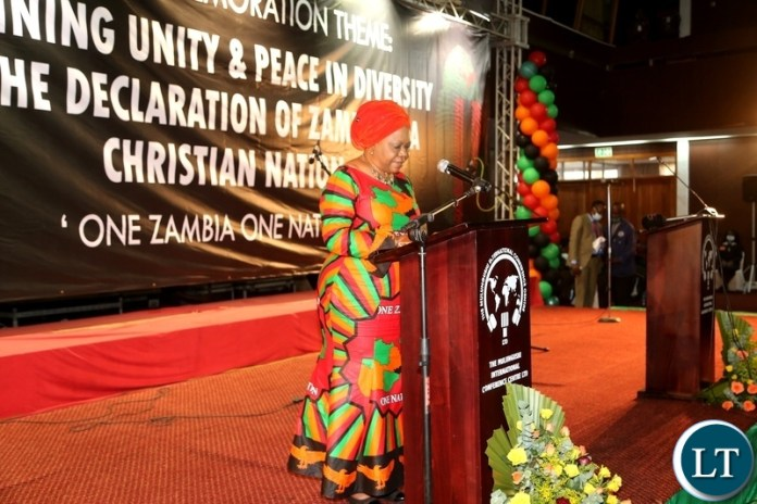 Minister of National Guidance and religious affairs Godfridah Sumaili speaking during the commemoration of the declaration of Zambia as a Christian Nation at mulungushi international conference centre yesterday. Tuesday, December 29, 2020. Picture by ROYD SIBAJENE/ZANIS
