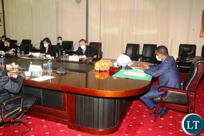 President Edgar Lungu speaking when a Chinese delegation led by Hr Yang Jiechi paid a courtesy call on him at State House