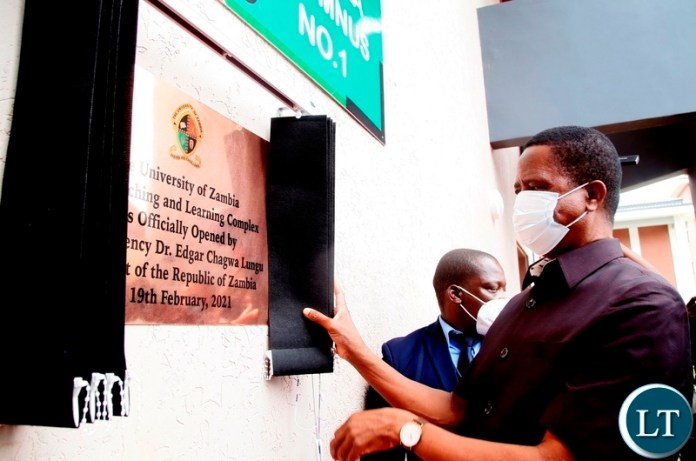 President Edgar Lungu unveils the plaque  during the commissioning of the new teaching and learning complex lecture theatre building at UNZA today.Picture by SUNDAY BWALYA/ZANIS