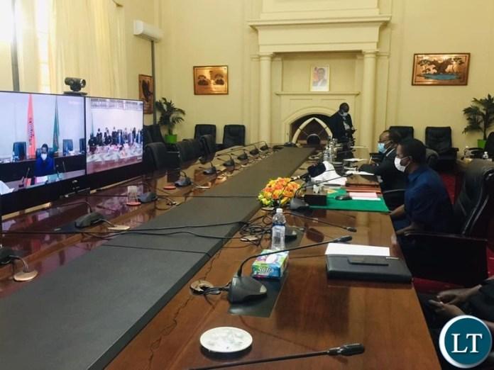 President Lungu in a Virtual Meeting