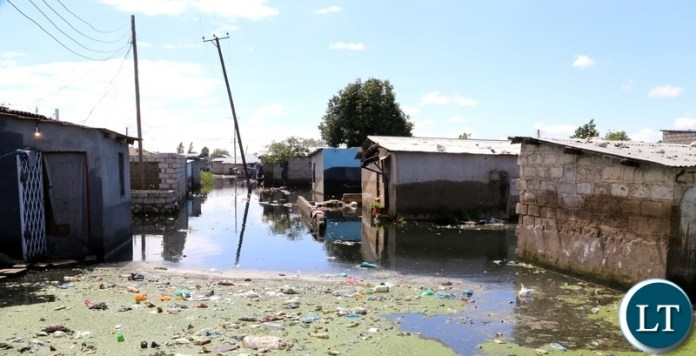 Flooded houses in kuku compound in Lusaka