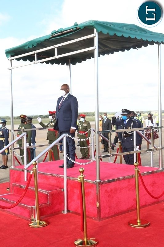 President of Botswana Dr. Mokgweesti Eric Masisi in the saluting dias on his arrival at Kenneth Kunda International airport yesterday, Wednesday, March 31, 2021. Picture by ROYD SIBAJENE/ZANIS