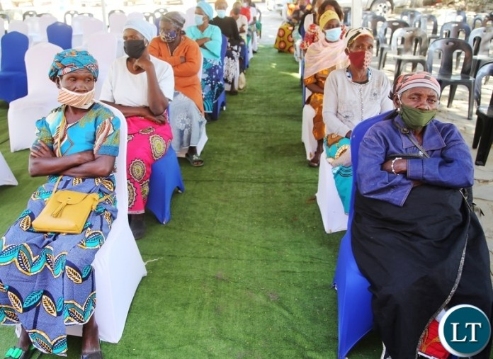 The aged people wait to receive food hampers donated by AFCON at ST Kizito Parish in Lusaka. Picture by SUNDAY BWALYA/ZANIS