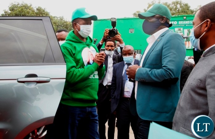 President Edgar Lungu being received by PF Secretary General Davies Mwila when the President arrived to file nominations at the PF Secretariat. Picture by SUNDAY BWALYA/ZANIS