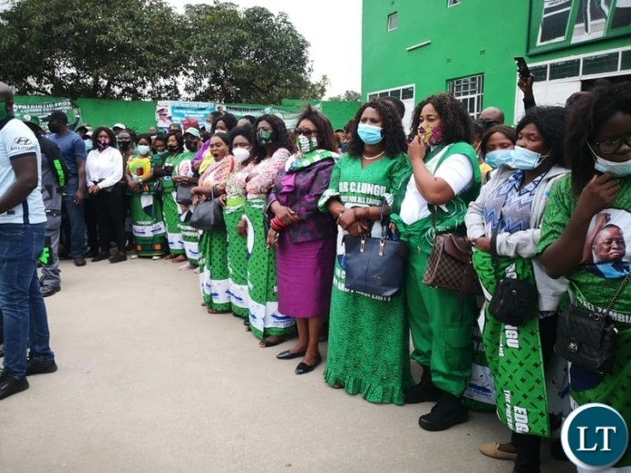 PF Women Line up to Welcome President Lungu when he turned up to file his nomination