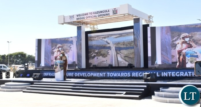 A Tswana representative welcomes guests during the official opening of the Kazungula bridge on the Botswana side