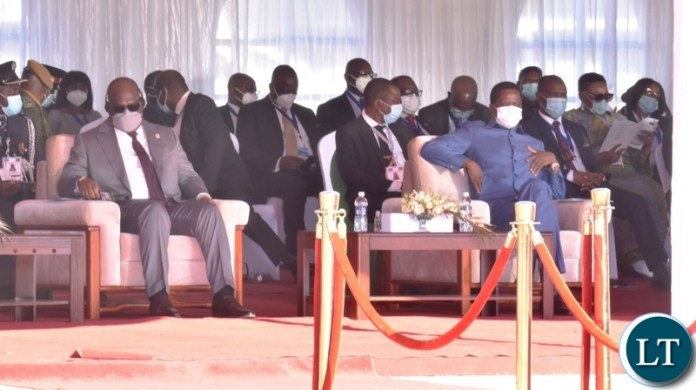 DRC President Felix Tshisekedi and Guest of Honour with President Edgar Lungu following proceedings during the official opening of Kazungula bridge