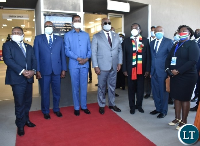 Group picture of Heads of State after official opening of the Kazungula one stop border post on the Zambian side
