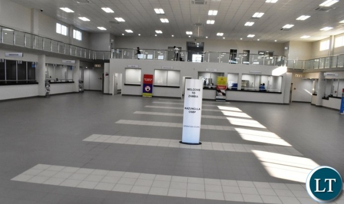 Inside the passenger terminal at the newly constructed Kazungula one stop border post