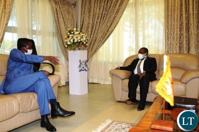 PRESIDENT Edgar Lungu is welcomed by President of Mozambique,Filipe Jacinto Nhusi at Harry Mwaanga Nkumbula International Airport for the commissioning of Kasungula bridge