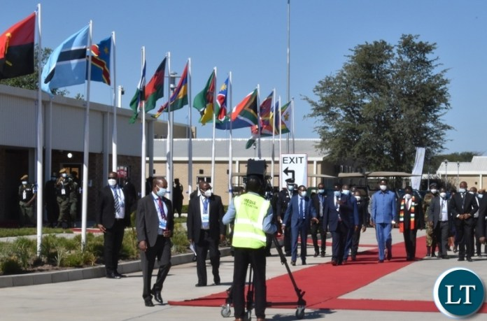President Edgar Lungu and other heads of State arriving at the official opening of the Kazungula one stop border post on the Zambian side