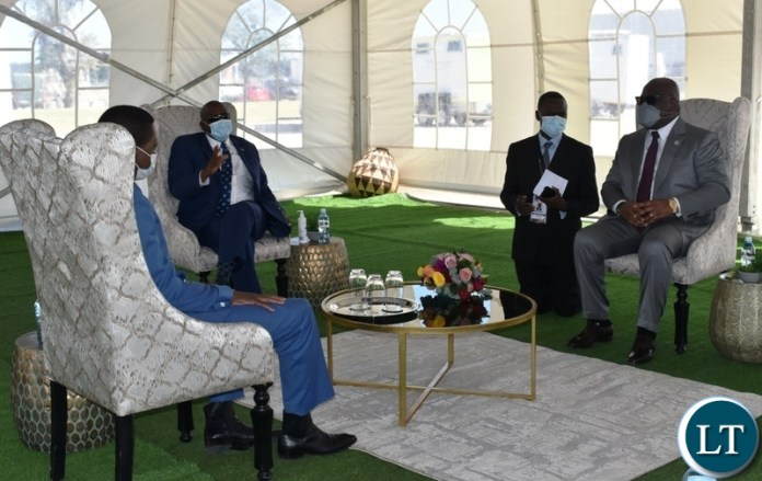 President of Botswana Mokgweetsi Masisi welcoming President Edgar Lungu and DRC President Felix Tshisekedi in Kasane during the official opening of the Kazungula bridge