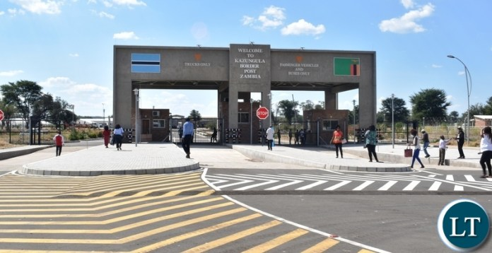 The entry point for passengees and vehicles at the newly built Kazungula border post