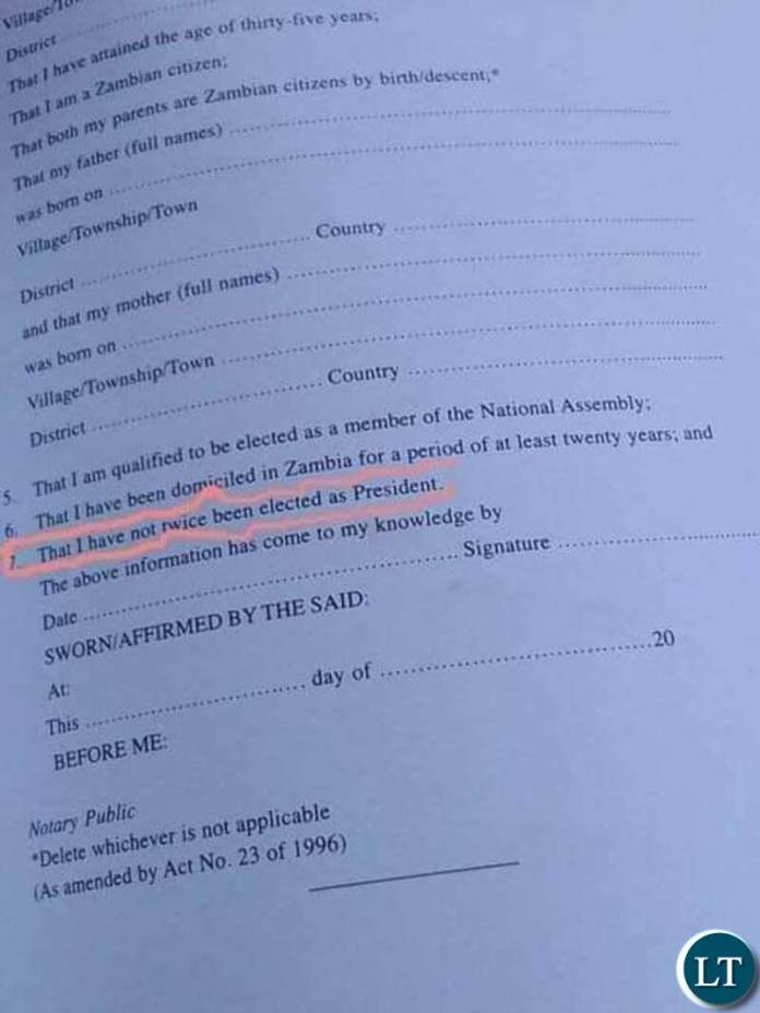 The affidavit in Dispute