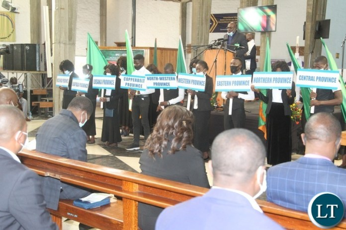 PRESIDENT Edgar Lungu and Rev.Godfridah Sumaili at National Prayer initiative for 2021 peaceful elections at Cathedral of the Holy Cross in Lusaka.