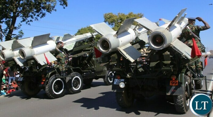 Zambia Air force personnel display their  military equipment during the commemoration of defence day in Lusaka. Picture by SUNDAY BWALYA/ ZANIS