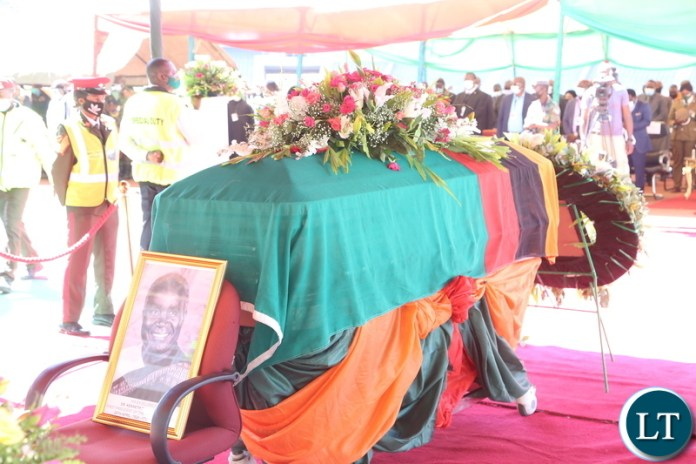 The remains of the late first Zambian President Dr Kenneth Kaunda lay in state at Levy Mwanawasa Stadium during the church service in Ndola yesterday. Monday, June 28, 2021. Picture by ROYD SIBAJENE ZANIS
