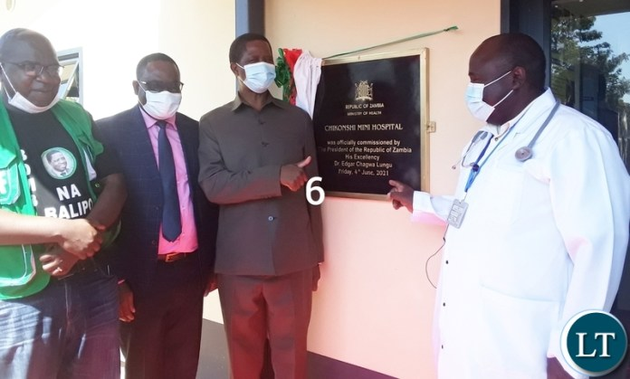 From (left) is former health Minister Chitalu Chilufya, Luapula province Permanent Secretary Charles Mushota, President Edgar Lungu and Luapula province health Director Dr Peter Bwalya during the commissioning of Chikonshi Mini Hospital in Chief Matanda's Chiefdom.Picture by SUNDAY BWALYA/ ZANIS.