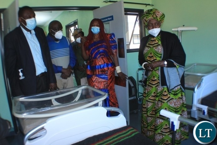 Vice President Inonge Wina (r) touring the hospital during the commissioning of Lutaba Mini Hospital in Mwandi District, Western Province