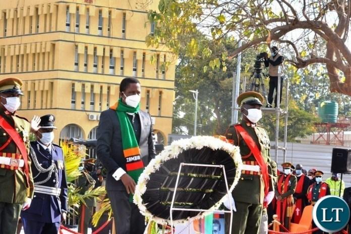President Lungu laying a wreath
