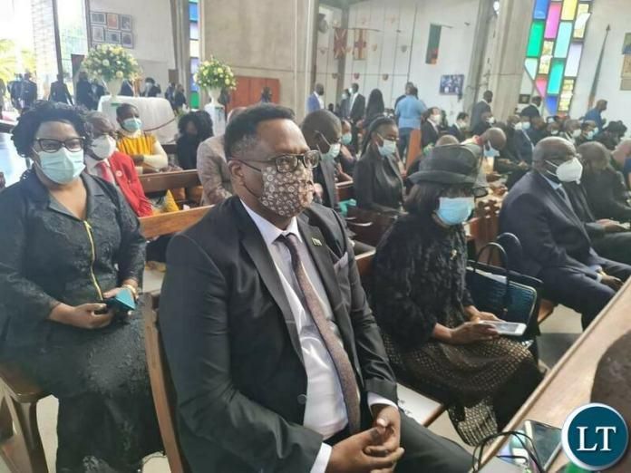 Zambia 's Ambassador to Ethiopia Emmanuel Mwamba attending the Funeral Service