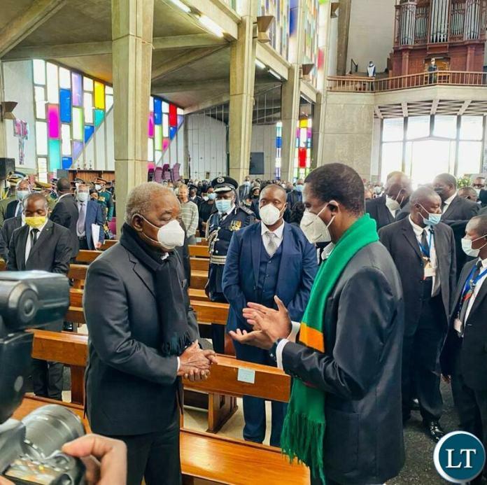 President Lungu meeting Former Rebublican President Rupiah Banda at the Funeral Service of Dr Kenneth Kaunda