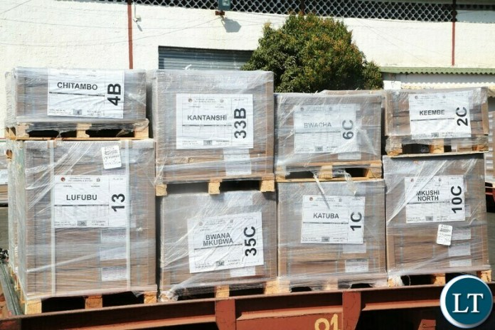 BALLOT papers for 12th August,2021 General Election for 40 Constituencies have arrived at Kenneth Kaunda International in Lusaka.