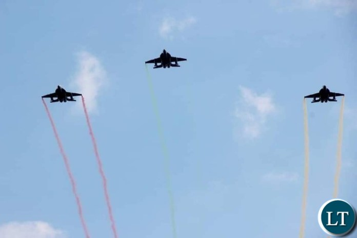 The Zambia Air Force Fly past at the  burial of the late President Kenneth Kaunda
