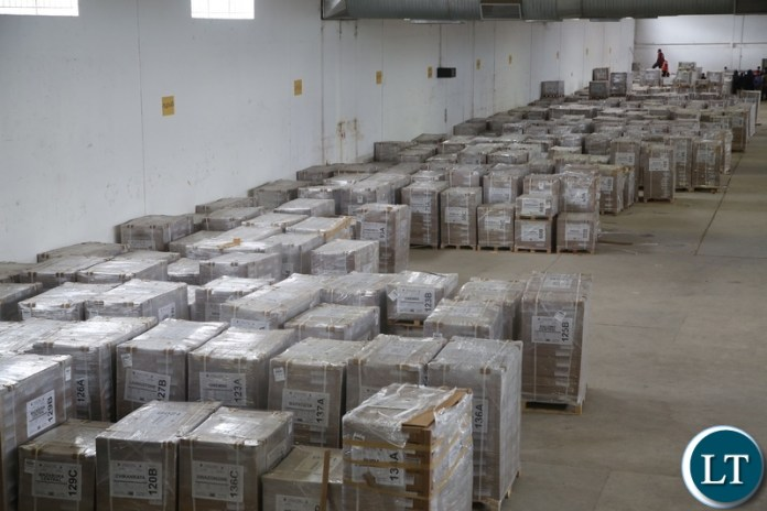 Ballot papers being kept in the ECZ warehouse which they verified for 2021 August general election in Lusaka.