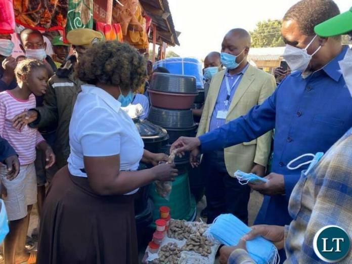 President Lungu Distributing Masks
