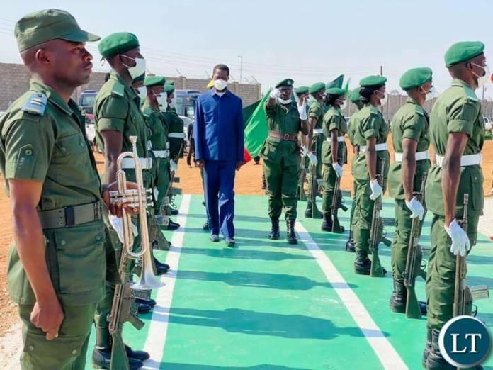 President Lungu through a pass out Parade