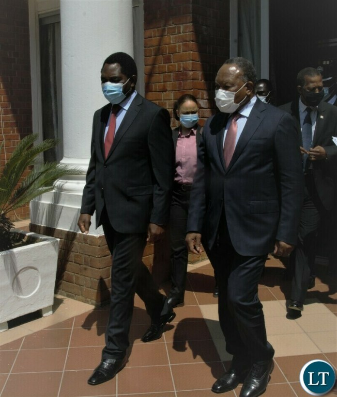President Hakainde Hichilema accompanied by Former President of South Africa, Kgalema Motlanthe walk out of State House after holding private talks on Tuesday Afternoon.