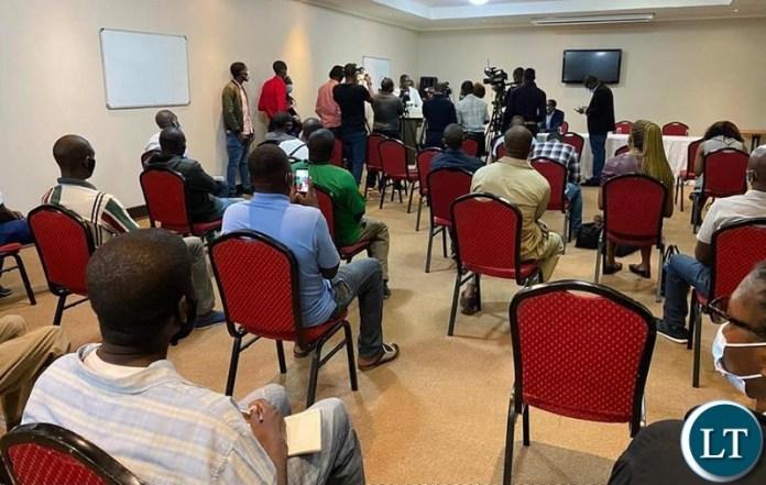 Media Briefing by Patriotic Front party information and publicity chairman Hon. Raphael Mangani Nakacinda
