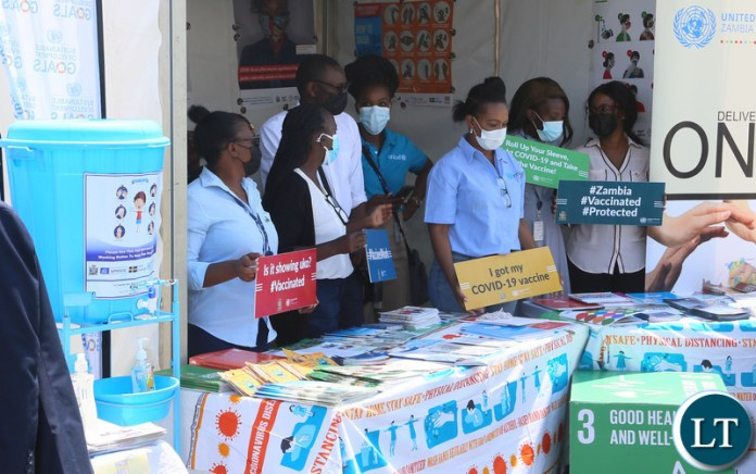 Exhibiters in there stands during the relaunch of COVID-19 vaccine at OYDC