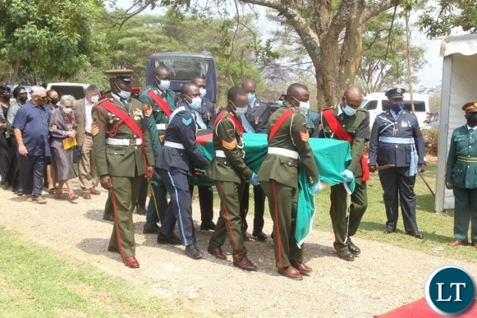 THE Army personnel carrying a casket of Late former Cabinet Minister Hon. Simon Ber Zukas in Lusaka.