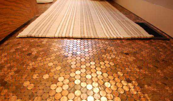 penny tiled floor diy bathroom ideas