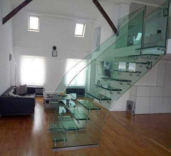 33 Glass Staircase Design Ideas Bringing Contemporary Flare Into   Modern Glass Staircase Design   Half Wall Glass   Marble Floor Glass   Modern Style   Stainless Steel   Stair Case