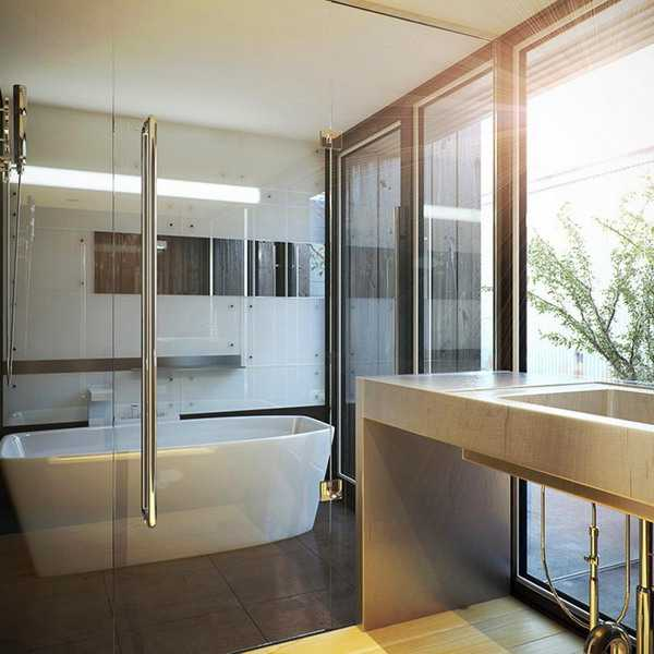 Elegant Modern Bathroom Design Blending Japanese
