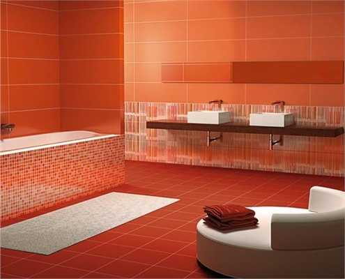 Modern Wall Tiles In Red Colors Creating Stunning Bathroom