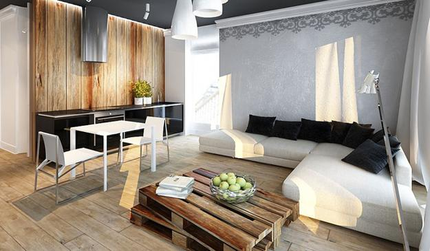 Cool Apartment Ideas Blending Wood Into Black And White