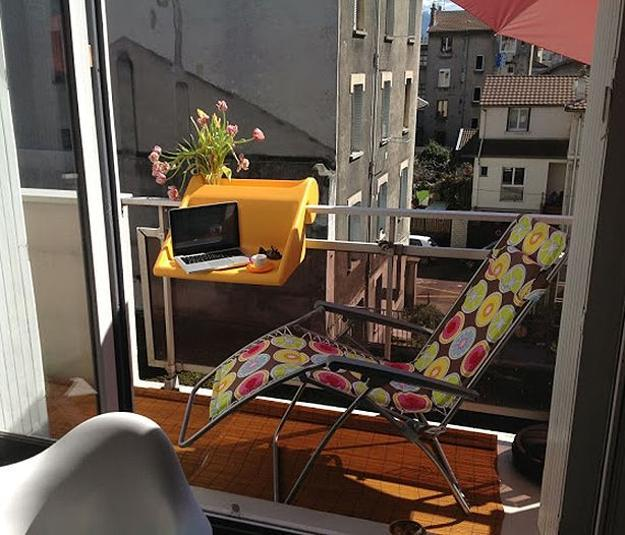 Space Saving Hanging Table Adding Comfort To Small Balcony